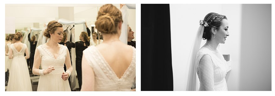 prueba de vestido de novia por Irene Cazón. Fotógrafa nupcial asturiana
