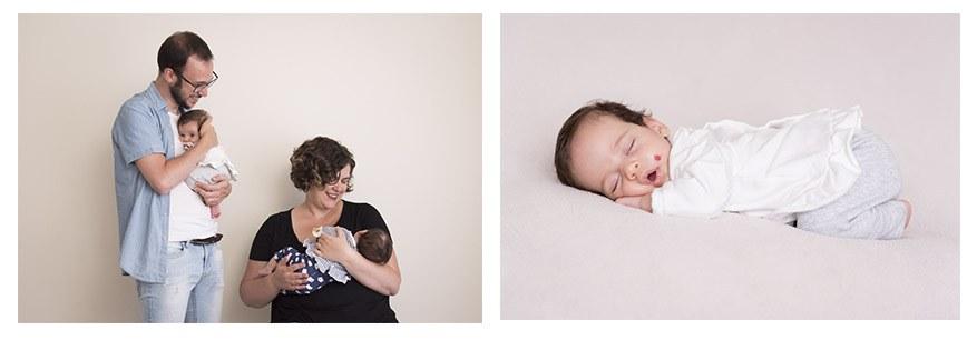 Fotos con mellizas bebés en estudio de Gijón. Irene Cazón.